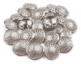 5 buttons 21 mm silver metal engraved arabesques