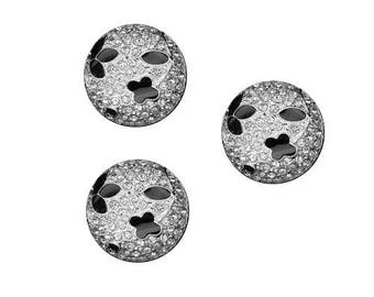 Black button and rhinestone diamond 18 mm