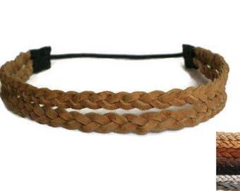 Tan Double Braided Headband, Halo Leather Headband, Adult Boho Headband 2 Strand, Adjustable Hippie Hair - rust black brown tan suede