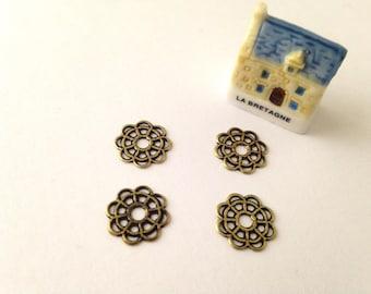 10mm cabochon flower prints 4pcs filigree antiqued gold or bronze