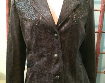Brown Snake and leather looking Studded Western Jacket by Country Music Star Reba / size Large