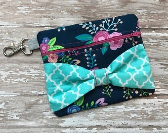 Floral Zipper Bow Bag