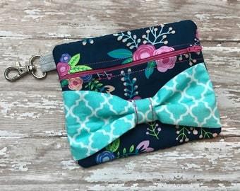 Floral Zipper Bow Bag