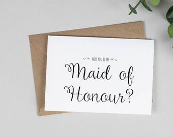 Will you be my Maid of Honour? Card - A5 Wedding
