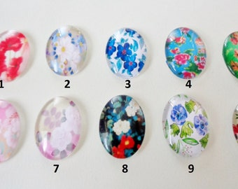 Glass Floral Cabochons 23mm x 18mm
