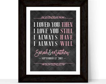 20th anniversary gift for wife for husband | 20 year anniversary gifts for her | I loved you then I love you still | print or canvas
