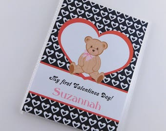 Baby Girl Valentine's Day Gift Photo Album 1st Valentines day Gift Teddy Bear heart Personalized Present 4x6 or 5x7 Pictures 828