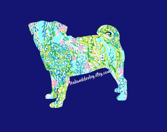 Lilly Pulitzer Inspired Pug Vinyl Decal Sticker