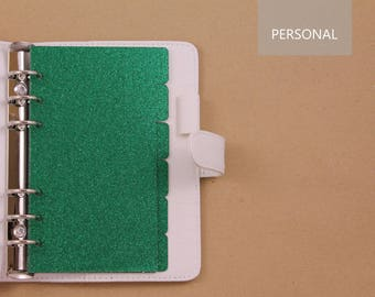 Dividers for planner with rings, green Personal dividers, planner dividers with glitter for Filofax, Kikki K, Louis Vuitton