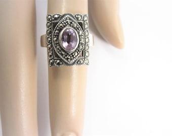 Vintage Marcasite Sterling Amethyst Ring Size 6.5