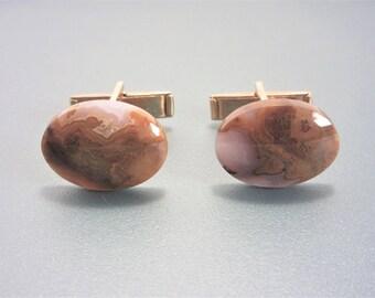 Vintage Oval Agate Stone Cufflinks