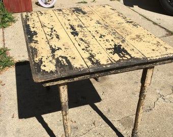 Antique Folding Table, Original Paint, Shabby Chic