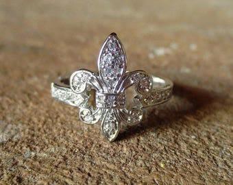 Fluer De Lis Ring/Rhodium Dipped Cubic Zirconia Fleur de lis Ring/ French Ring/French Jewelry