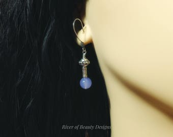 Lavender Stone Bali Sterling Silver Dangle Earrings, Light Purple Chalcedony Drops, Gemstone Jewelry, Gift Under 50, River of Beauty Designs