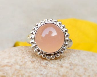 Natural Rose Quartz Ring, Pink Rose quartz cabochon rose quartz crystal gemstone, 925 silver ring Healing stone Love Ring sz 4 5 6 7 8 9 10