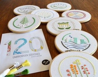 120 Embroidery Stitches ebook + Patch Samplers pattern, hand embroidery, stitch guide, embroidery samplers, modern embroidery, PDF pattern