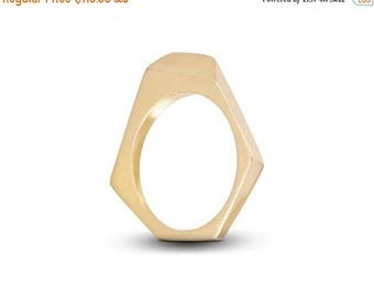 ON SALE Hexagonal Gold Plated Silver Ring, Minimalist Geometric Ring,