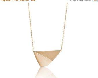 ON SALE Diagonal Moon 14K Gold Statement Necklace, Geometric Long Pendant Minimalist Necklace - Handmade Product