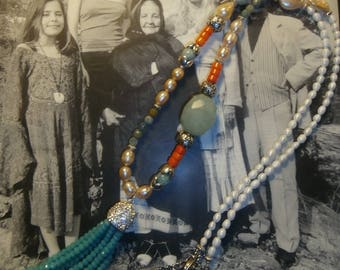 "long necklace ""Stopover in Ibiza"" Bohemian chic, Gypsy, freshwater pearls"