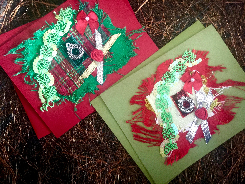 Unique Christmas Card Pair Silver Wreath Charm Textile Collage Art