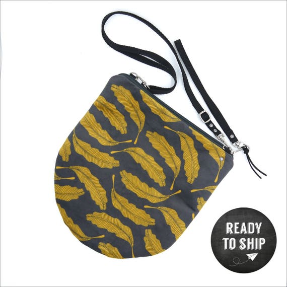 """Grey and yellow graphic """"feathers"""" shoulder bag, LARGE brushed Poly Pochette"""