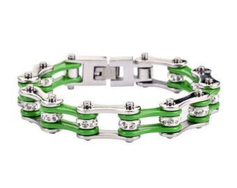 Women's Ladies Motorcycle Stainless Steel Crystal Green Bike Chain Bracelet