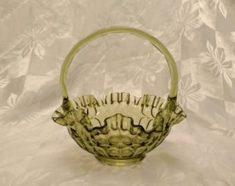 Pretty Green Fenton Glass Thumbprint Basket Bowl with Ruffled Edge - For Candy Dish or Potpourri - Excellent Condition - Like New!