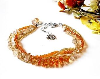 Raw Citrine Anklet Foot Bracelet Amber Topaz Yellow Orange Boho Beach Summer Healing Gemstone Crystal Stone Glass Seed Bohemian Sandal Gipsy