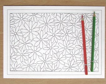 Simple Flowers - A4 Downloadable Colouring Page, Printable, PDF Download, Adult Colouring, Nature, Flowers, Relaxation, Mindfulness