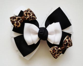 Black and White Bow With Small Cheetah/Leopard  print ribbon bows