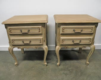 Midcentury Louis XV Style French Pair of Nightstands