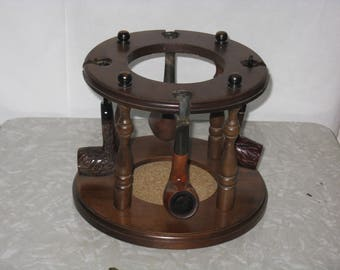 Wooden pipe holder stand holds four pipes no jar