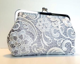 Silver Lace Bridal Clutch | Gray Lace Bridal Purse | Personalized Grey & Yellow Bridesmaid Clutch | Custom Wedding Party Gift | 8-inch Clasp