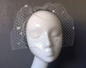 Bridal wedding handmade ivory birdcage veil with on pewter leather headband - can be ordered in different colours