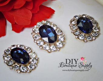 NEW Large Dark Blue Crystal Buttons Rhinestone Buttons Gold Flatback Embellishment Great For Shoe Clips Bows flower centers 3pc 32x25mm N143