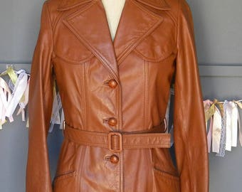 VINTAGE Leather Coat /70's Leather / 1970's trench coat / Fitted leather coat / Belted knee length trench jacket / Size 10 leather coat
