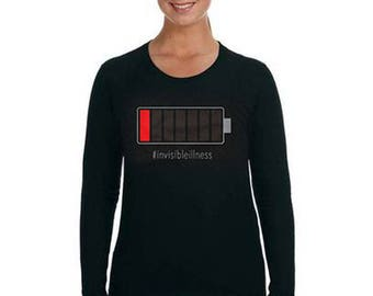 CUSTOMIZE Battery Run Down Femme LONG sleeve T-Shirt on Black - Invisible Illness, disability