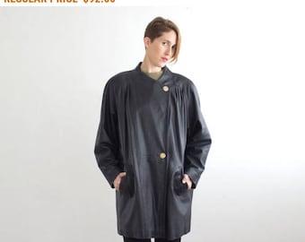Vintage Oversized Black Leather Jacket/ 80s Plus Size Women Leather Coat size Large XL