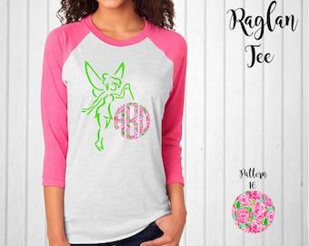 Monogram Shirt, Monogram Raglan Tee, Tinkerbell Raglan, Disney Raglan,  Monogram T-Shirt in Pattern 16