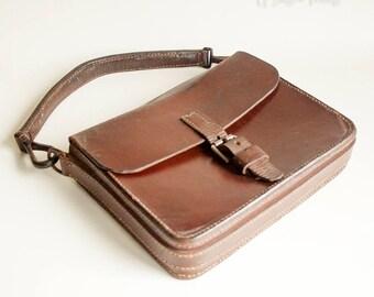 Vintage 1950/60s Strong Leather Small Satchel Style Man Bag Handbag