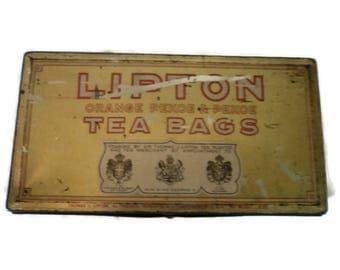 Antique Lipton Orange Pekoe Tea Bag Tin
