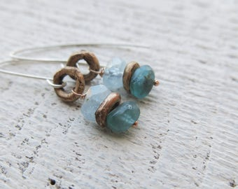 Aquamarine and apatite earrings. Aquamarine earrings. Bronze earrings.  Mixed metal earrings. Solid cast bronze. Lost wax earrings.
