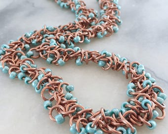 Beaded Chainmaille Statement Set - Boho Style Chainmaille Jewelry - Teal and Copper Jewelry - Gift for Her - Beaded Fringe Chainmaille