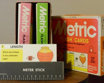 Vintage Boxed Set of Metric Flash Cards