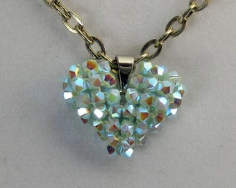 Necklace, Light Blue Swarovski Crystals, 3D Beaded Puffy Heart Pendant on 24 inch Silver Chain