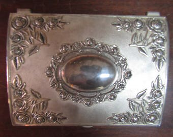 Vintage Godinger Silver Plated Jewelry Box Floral Design/ Red Velvet Interior