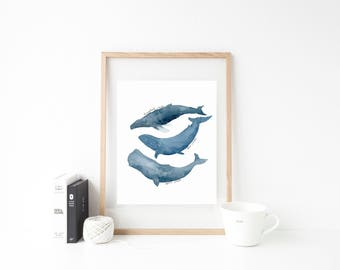 Whale Art - Whale Print - Whale Wall Art - Whale Art Print - Blue Whale Print - Watercolor Whale - Blue Whale - Whale Nursery - Whale Poster