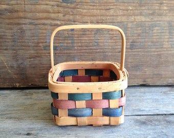 Small Vintage Woven Basket. Vintage Basket. Woven Basket. Small Woven Basket. Small Vintage Basket. Farmhouse Basket. Small Square Basket.