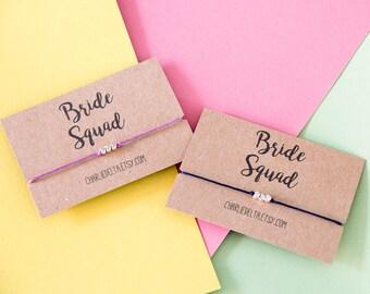 Bride Squad Friendship Bracelets - Bridesmaid Gift - Hen Party Favours - Bachelorette Party  Favors - Friendship Gift - Tie On Wish Bracelet