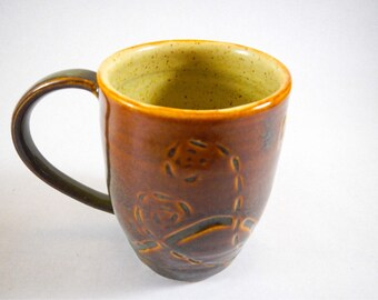 Handmade Brown Coffee Cup with Abstract Design